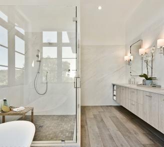 Bellmont Firma slab wood grain laminatemaster bath
