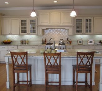 Traditional kitchen painted cabinets with island