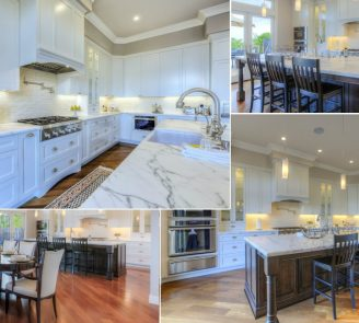 Traditional kitchen painted cabinets with cherry island