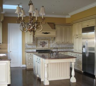 Traditional kitchen painted cabinets