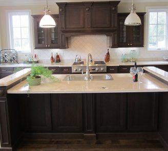Traditional kitchen dark cherry cabinets with island