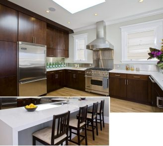 Dark cherry stain kitchen
