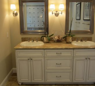 Oyster opaque finish vanity by Omega full access