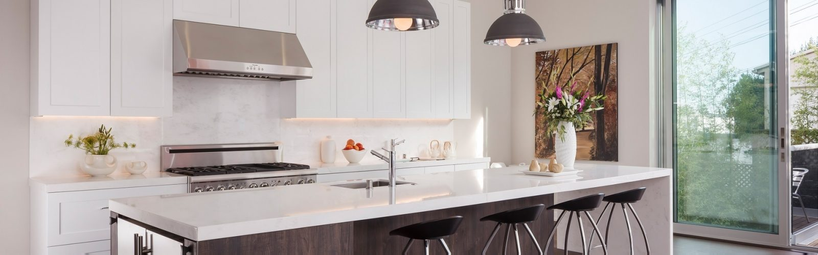 Bon ... White Shaker Style Contemporary Kitchen With Dark Wood Island San  Francisco ...
