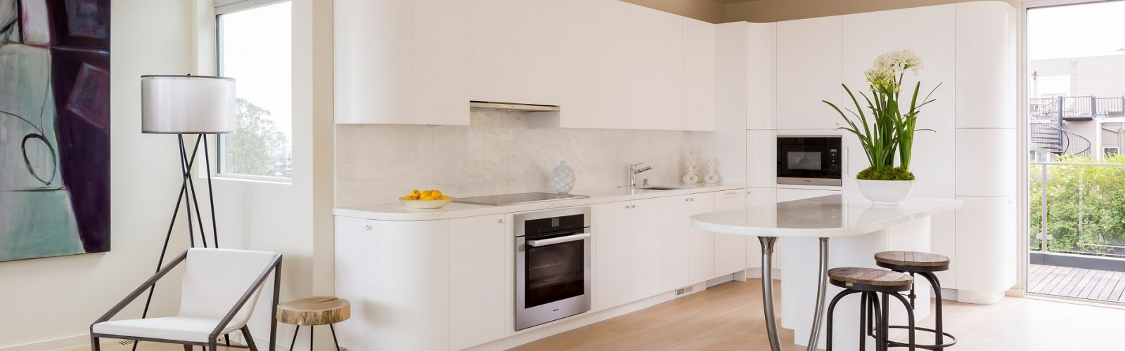 White Paint Contemporary Kitchen San Francisco