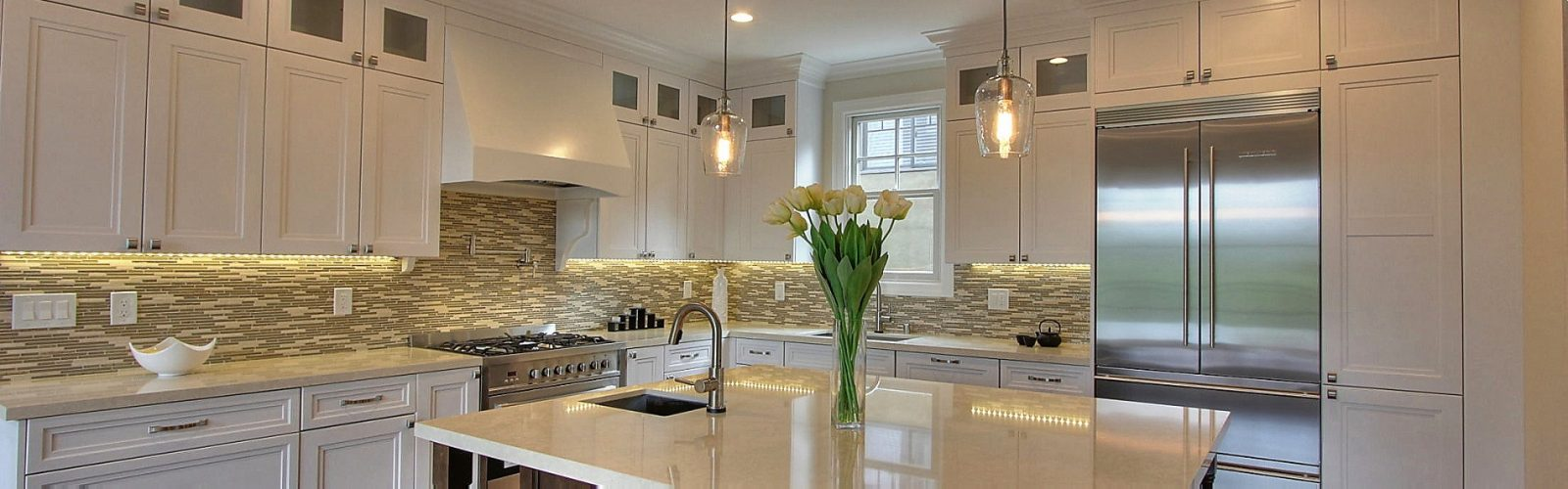 White Transitional  kitchen with dark cherry wood island San Mateo