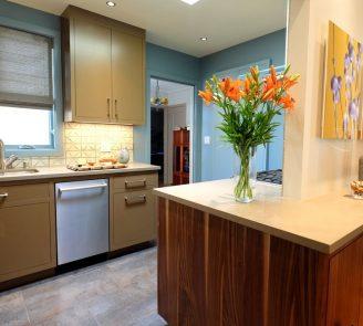 Omega inset kitchen custom color walnut island